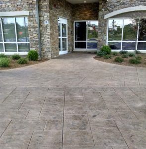 Marriott Courtyard Asheville Airport Receives Bomanite Stamped Concrete English Sidewalk Slate Entryway and Running Bond Used Brick Terrace in North Carolina