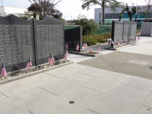 Veterans Memorial Walk of Honor Fresno Heritage Bomanite Exposed Aggregate Sandscape Texture Light Gray and Dark Gray Decorative Concrete