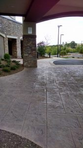 Marriott Courtyard Asheville Airport Receives Bomanite Stamped Concrete English Sidelwalk Slate Enteryway and Running Bond Used Brick Terrace in North Carolina