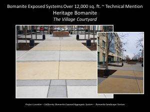 Heitage Bomanite Sandscape Texture Exposed Aggregate Walkway at the Village Courtyard in Fresno California
