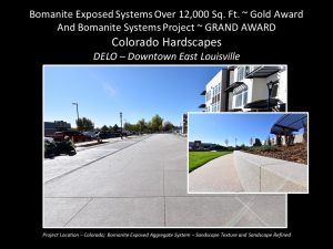 Colorado Hardscapes DELO Downtown East Lousiville Community with Bomanite Sandscape Texture Streetscape
