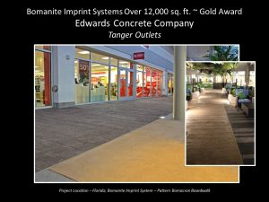 Edwards Bomanite Concrete provided a stamped Bomanite boardwalk pattern for the beach themed Tanger Outlet Daytona Beach