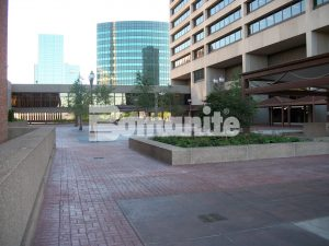 Connecticut Bomanite Installs Bomanite Basketweave Brick and Bomacron Medium Ashlar Slate Patterns to Replace Old Worn out  Pavers in this Commerical Plaza and Pedestrian Bridge.