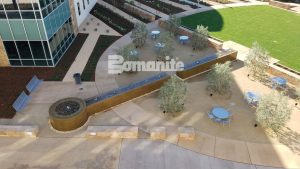 Clovis Community Medical Center Creates Cancer Institute Healing Garden Water Fountain with Bomanite Coloration Systems Integrally Colored Concrete by Heritage Bomanite